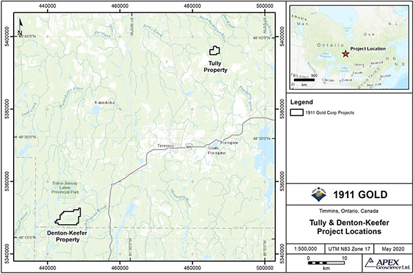 Location map for Timmins Properties